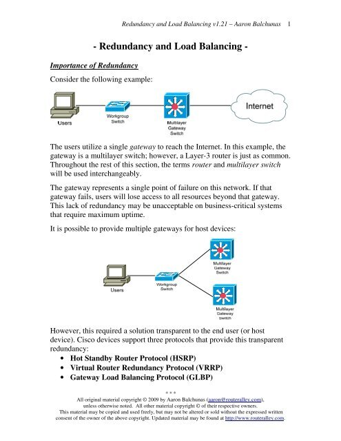 Redundancy and Load Balancing - Router Alley