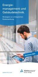 TÜV Rheinland Akademie Seminare Energiemanagement + Gebäudetechnik 2021