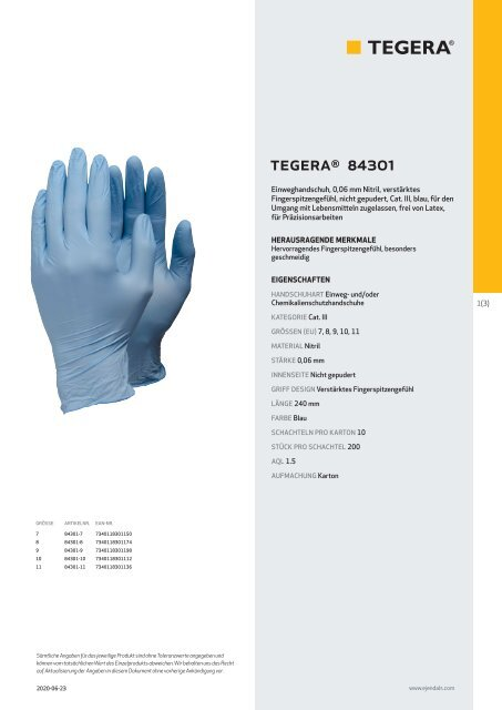 Handschuhe-Zertifikat