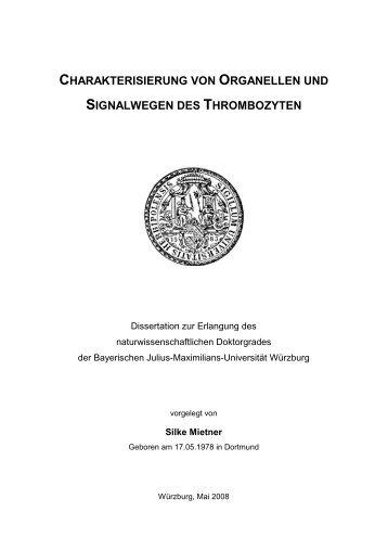 charakterisierung von organellen und signalwegen des thrombozyten