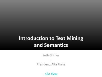 Introduction to Text Mining and Semantics - Alta Plana