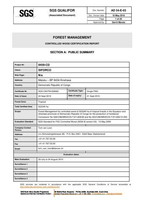 SGS QUALIFOR FOREST MANAGEMENT - FSC Watch