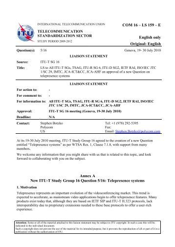 LS to All ITU-T SGs, TSAG, ITU-R SG 6, ITU-D SG2, IETF RAI, ISO ...