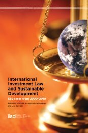 International Investment Law and Sustainable Development Key cases