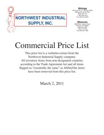 Commercial Price List - Northwest Industrial Supply, Inc.