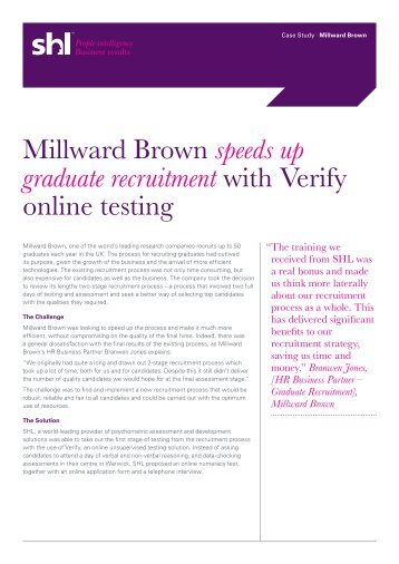 Millward Brown speeds up graduate recruitment with Verify ... - SHL