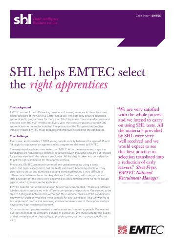 Steve Fryer, EMTEC National Recruitment Manager - SHL