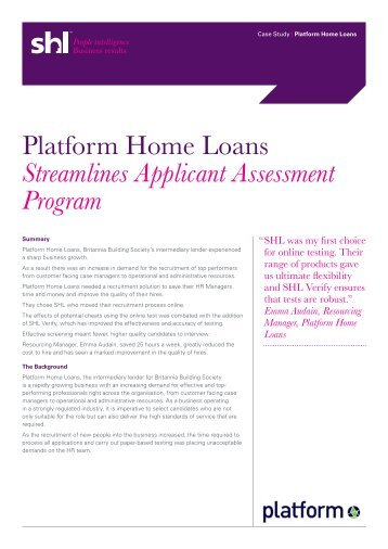 Platform Home Loans Streamlines Applicant Assessment ... - SHL