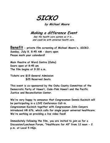 SICKO - Oahu County Democratic party
