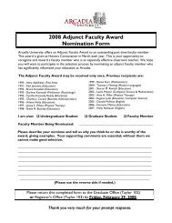 2008 Adjunct Faculty Award Nomination Form - Arcadia University
