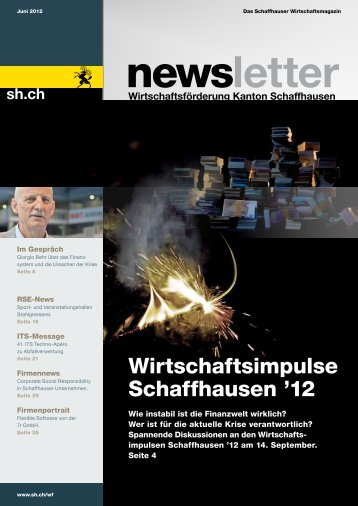 Ausgabe 2 - Juni 2012 - Wirtschaftsförderung Kanton Schaffhausen