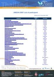 ANGVA 2007 List of participant - Bangkok Exhibition Services Ltd.