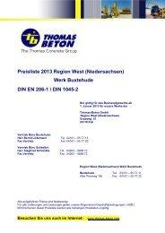 Preisliste 2013 Region West (Niedersachsen ... - THOMAS BETON