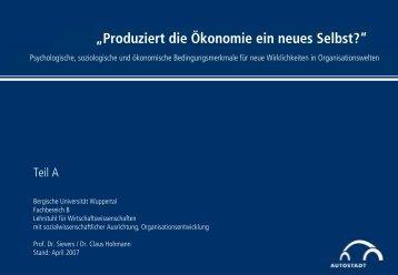 """""""Produziert die Ökonomie ein neues Selbst?"""" - Prof. Dr. Burkard ..."""