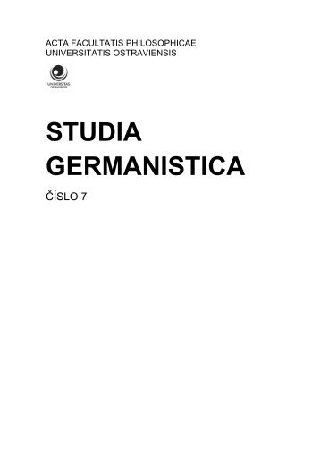 STUDIA GERMANISTICA - Sven Staffeldt