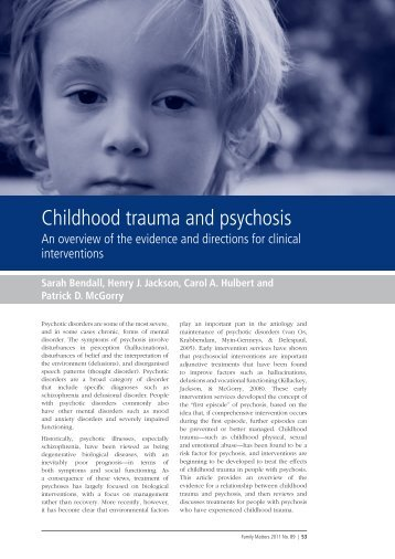 Childhood trauma and psychosis - Australian Institute of Family ...