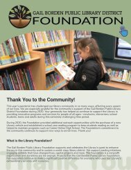 Gail Borden Foundation - Thank You to the Community