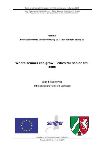 Where seniors can grow – cities for senior citi- zens - SEN@ER ...