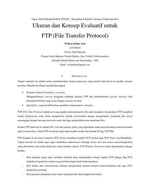 Ukuran dan Konsep Evaluatif untuk FTP (File Transfer Protocol)