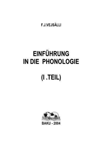 EINFÜHRUNG IN DIE PHONOLOGIE (I .TEIL )) - Translit.az
