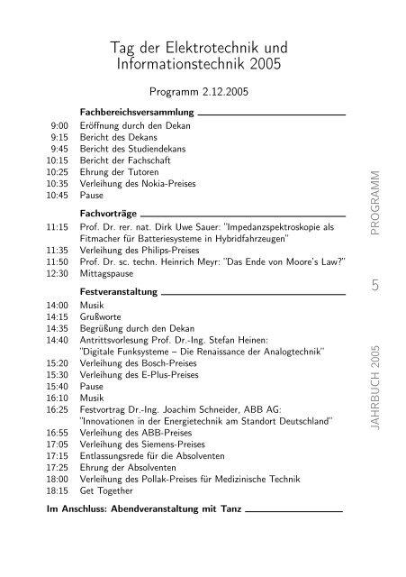 absolventenjahrbuch 2005 - Tag der Elektrotechnik und ...