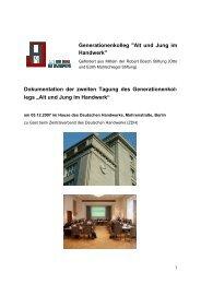 Dokumentation der zweiten Tagung des Generationenkol- legs