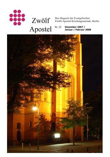 Zwölf Apostel - Evangelische Zwölf-Apostel-Kirchengemeinde, Berlin