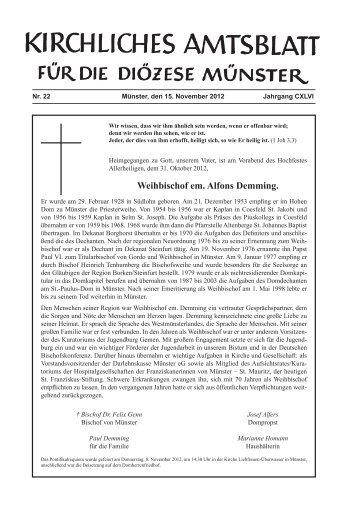 Weihbischof em. Alfons Demming. - Bistum Münster
