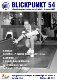 Heft 54 Dezember 2007 - SG Empor Brandenburger Tor 1952 e.V.
