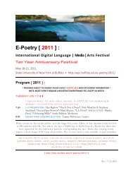 E-Poetry [ 2011 ] : - Electronic Poetry Center