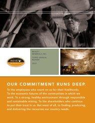 OUR COMMITMENT RUNS DEEP. - Revett Minerals Inc.