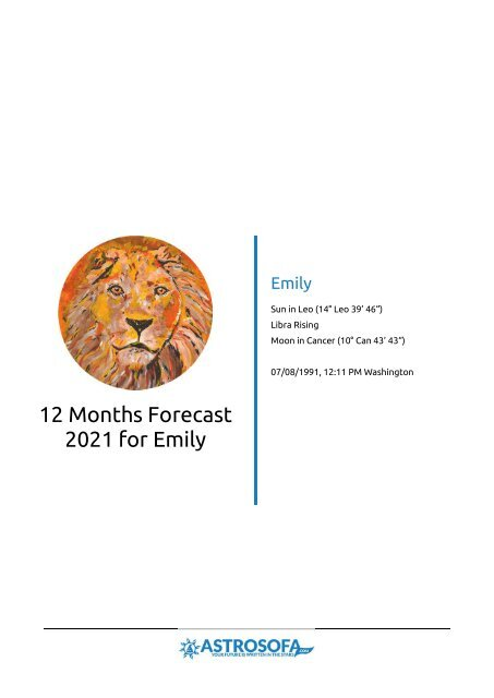 Example Horoscope: 12 month forecast Leo