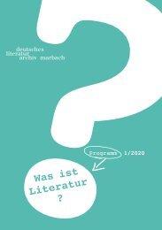 Programmheft des Deutschen Literaturarchivs Marbach, 1. Halbjahr 2020