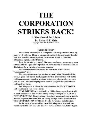 The Corporation Strikes Back - eFanzines main page