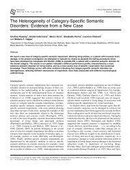 The Heterogeneity of Category-Specific Semantic Disorders ...