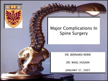 Major Complications In Spine Surgery - Faculty of Health Sciences