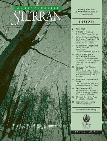 INSIDE: - Massachusetts Sierra Club