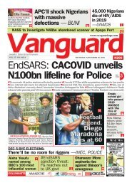 26112020 - EndSARS: CACOVID unveils N100bn lifeline for Police