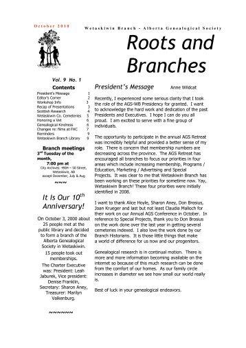 October 2010 Newsletter - Wetaskiwin Branch, Alberta Genealogical ...