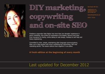 DIY Marketing, copywriting and on-site SEO ebook - Helpinthecity.com