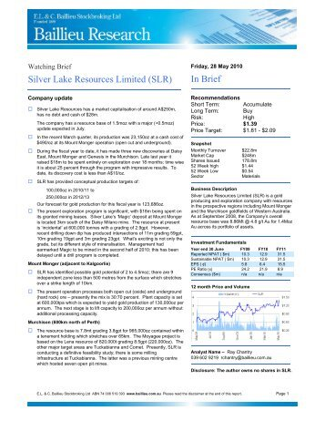 Research Report by E L & C Baillieu Stockbroking - Silver Lake ...