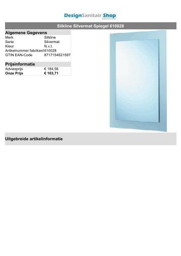 Silkline Silvermat Spiegel 610028 Algemene Gegevens ...