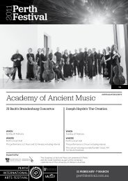 Academy of Ancient Music - Perth Festival - Perth International Arts ...