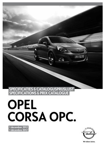 specificaties & catalogusprijslijst specifications & prix catalogue - Opel
