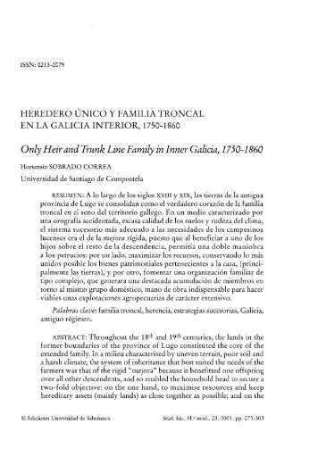 Only Heir and Trunk Line Family in Inner Galicia, 1750-1860