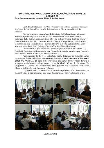 ENCONTRO REGIONAL DA BACIA HIDROGRÁFICA DOS SINOS ...