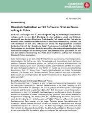 Cleantech Switzerland verhilft Schweizer Firma zu Gross- auftrag in ...