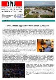 EPFL in leading position for 1 billion Euro grant - International ...