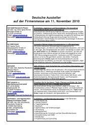 Deutsche Aussteller auf der Firmenmesse am 11. November 2010