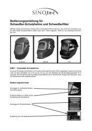 Bedienungsanleitung für Schweißer-Schutzhelme ... - SINOtec GmbH